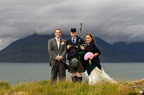 Piper on the Isle of Skye with Bride and Groom Wedding